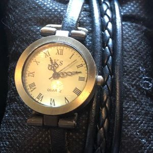 EUC KS woman's watch Black leather bracelet
